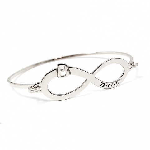 Bangle bracelet with infinity, monogram and date on sterling silver gold plated