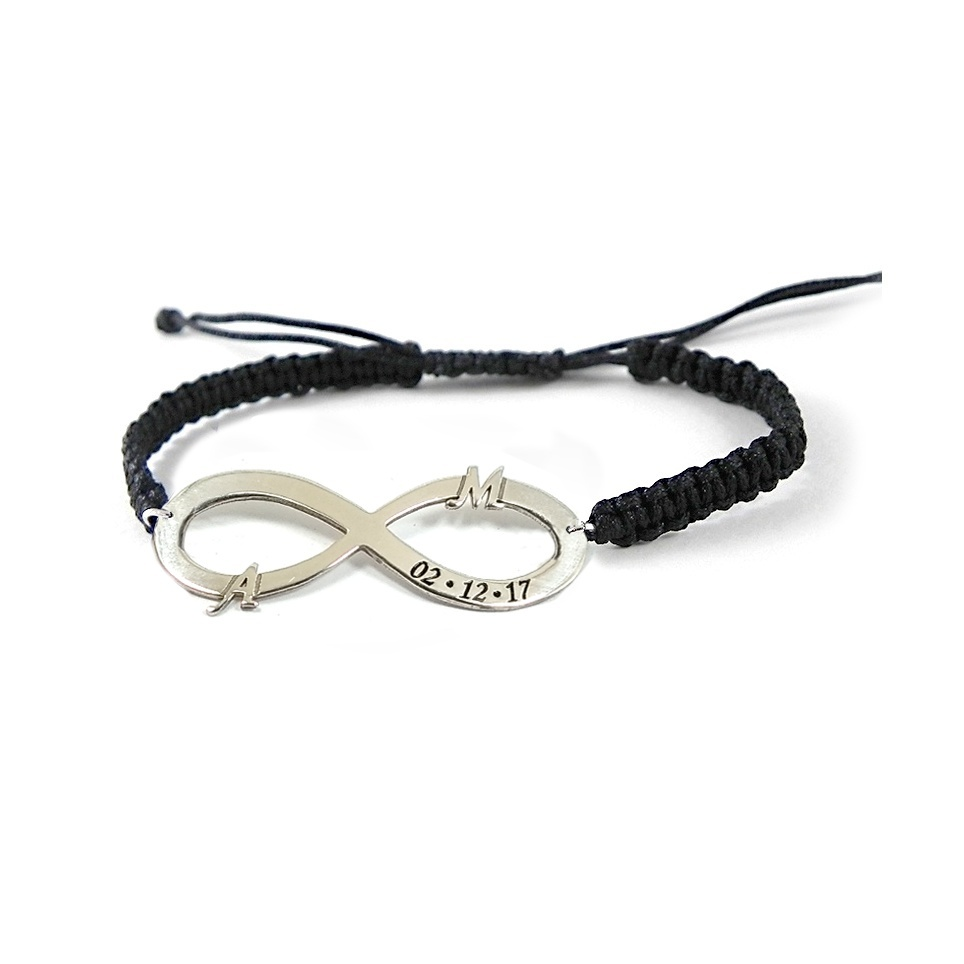Silver bracelet with infinity, monogram and date on sterling silver with macrame