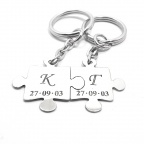Double keyring with puzzle pieces