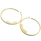 Big hoop earrings with your name or date, sterling silver gold plated