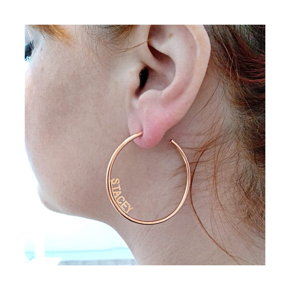 Hoop earrings with your name or date, sterling silver rose gold plated