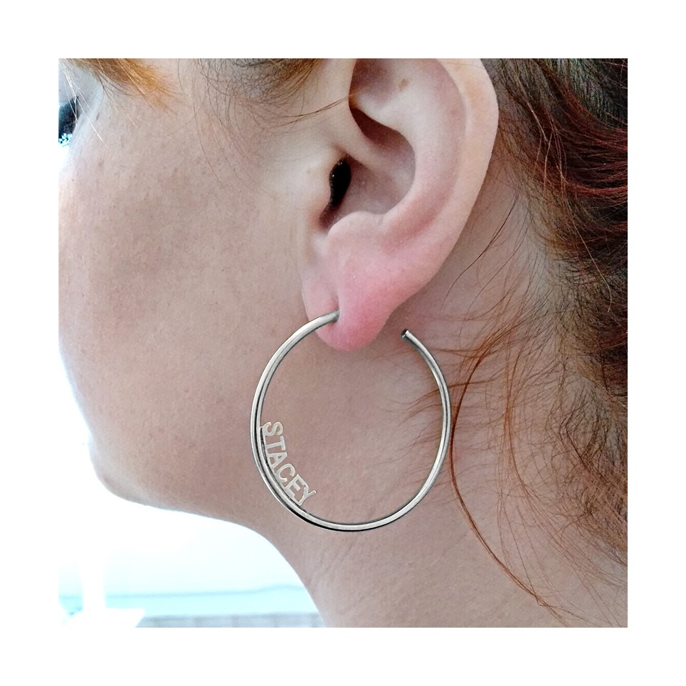 Hoop earrings with your name or date, sterling silver platinum plated