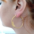 Hoop earrings with your name or date, sterling silver gold plated
